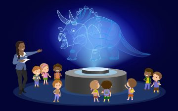 Triceratops hologram presented to audience